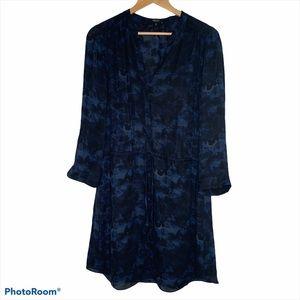 Babaton Bennet Blue and Black 100% Silk Dress Sz L